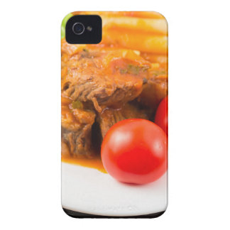 View close-up on a meal of beef stew with pasta Case-Mate iPhone 4 cases