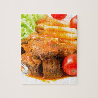 View close-up on a meal of beef stew with pasta jigsaw puzzle