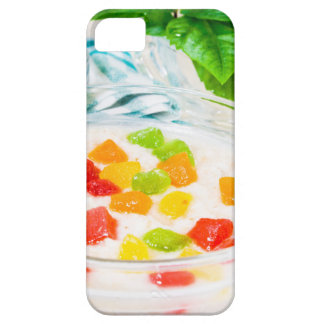 View close-up on oatmeal with colorful candied case for the iPhone 5