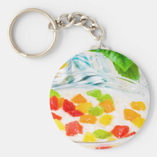 View close-up on oatmeal with colorful candied key ring
