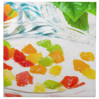 View close-up on oatmeal with colorful candied napkin