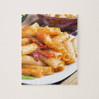 View closeup on a dish of rigatoni pasta jigsaw puzzle