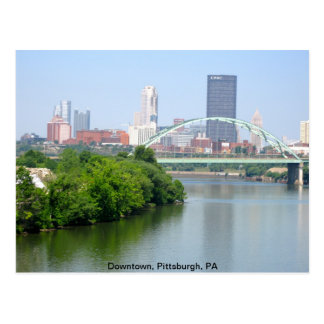 View from a bridge, Pittsburgh PA Postcard
