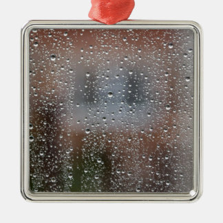 View From a Wet Window Silver-Colored Square Decoration