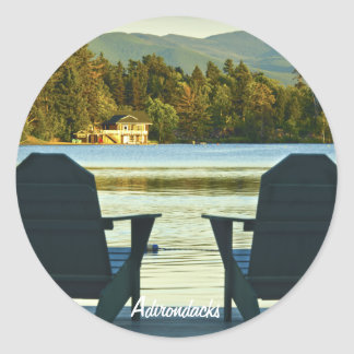 View from Adirondack Chairs in the Adirondacks, NY Classic Round Sticker
