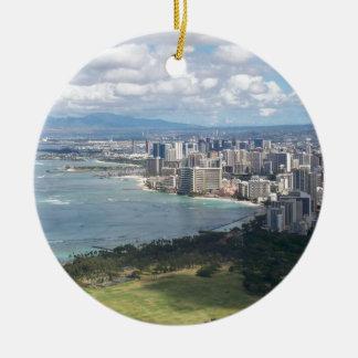 VIEW FROM DIAMOND HEAD- OAHU, HAWAII CERAMIC ORNAMENT