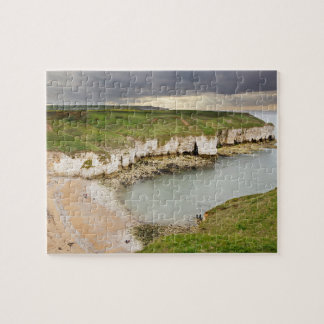 View from Flamborough Cliffs souvenir photo Jigsaw Puzzle