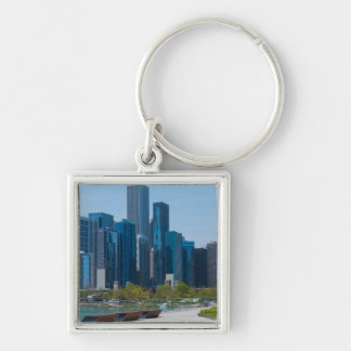 View From Navy Pier Silver-Colored Square Key Ring