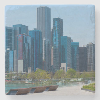 View From Navy Pier Stone Coaster