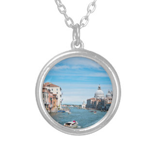 View from the bridge in Venice Silver Plated Necklace