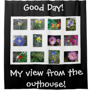 VIEW FROM THE OUTHOUSE FLORAL SHOWER CURTAIN
