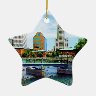 View from Waterplace Park, Providence, RI Ceramic Ornament