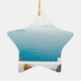 View in Santorini island Ceramic Ornament