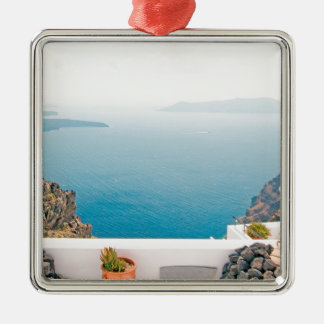 View in Santorini island Metal Ornament