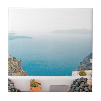 View in Santorini island Small Square Tile