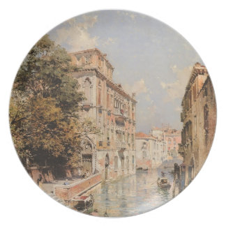 View in Venice, Rio S. Marina by Franz Unterberger Dinner Plate