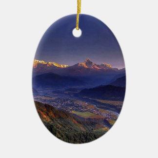 View Landscape  : HIMALAYA POKHARA NEPAL Ceramic Oval Decoration