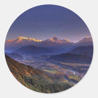 View Landscape  : HIMALAYA POKHARA NEPAL Classic Round Sticker