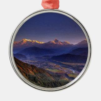 View Landscape  : HIMALAYA POKHARA NEPAL Silver-Colored Round Decoration