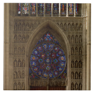 View looking west from the nave, rose window desig large square tile