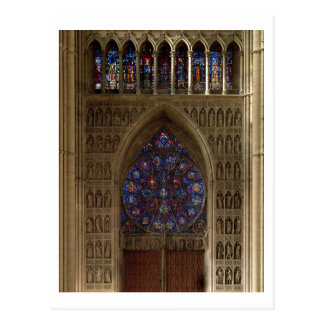 View looking west from the nave, rose window desig postcard