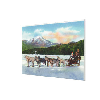 View of a Dogsled Team on Mirror Lake Canvas Print