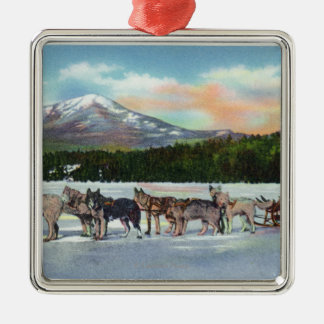 View of a Dogsled Team on Mirror Lake Silver-Colored Square Decoration