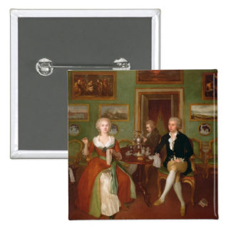 View of a drawing room, 1780 15 cm square badge