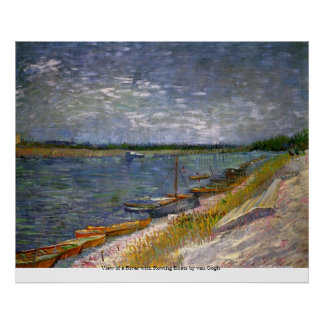 View of a River with Rowing Boats by van Gogh Poster