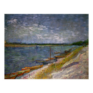 View of a River with Rowing Boats by van Gogh Posters