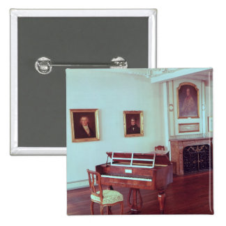 View of a room with a grand piano 15 cm square badge