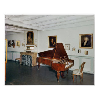 View of a room with a grand piano print