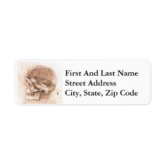 View of a Skull Leonard da Vinci Return Address Label