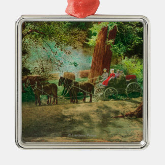View of a Stage Coach Amongst Big Trees Christmas Ornament