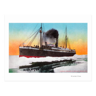 View of a Steamer in an Ice Jam Post Cards