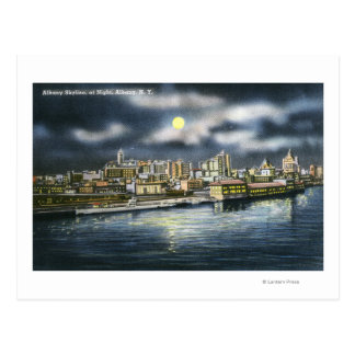 View of Albany Skyline at Night Postcard