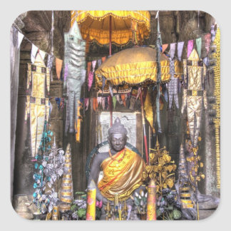 View of altar area inside Buddhist temple, Square Sticker