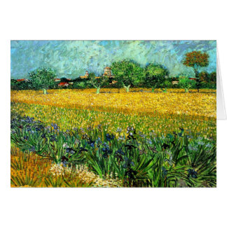 View of Arles with Irises in the Foreground Greeting Card
