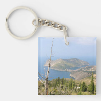 View of Assos (Kefalonia) Double-Sided Square Acrylic Key Ring