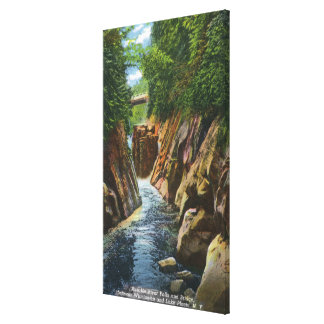 View of Ausable River Falls and Bridge Canvas Print