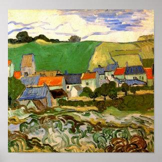 View of Auvers, Vincent van Gogh Poster