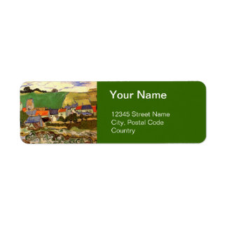 View of Auvers Vincent van Gogh. Return Address Label