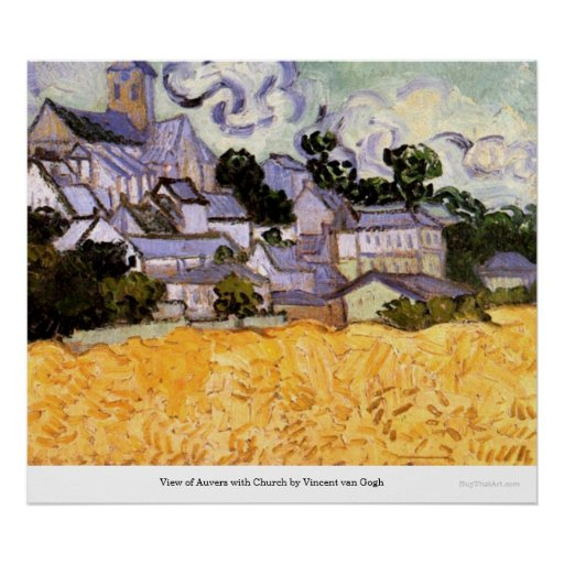 View of Auvers with Church by Vincent van Gogh Poster