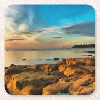 View of Bembridge from Saint Helen's Bay Square Paper Coaster