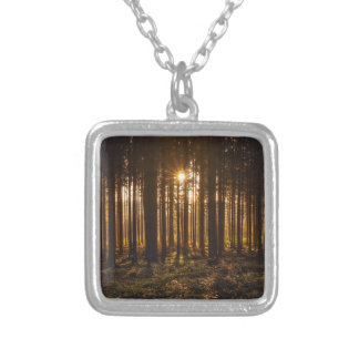 View of Black Trees and Sun Silver Plated Necklace