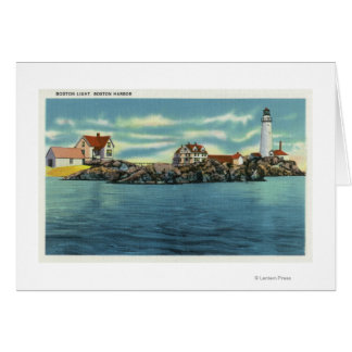 View of Boston Harbor and Boston Lighthouse Greeting Card