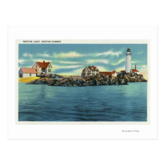 View of Boston Harbor and Boston Lighthouse Postcard