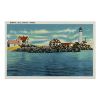 View of Boston Harbor and Boston Lighthouse Poster