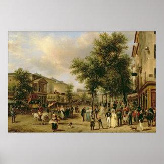 View of Boulevard Montmartre, Paris, 1830 Poster
