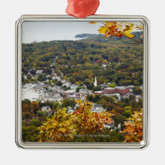 View of Camden Hills State through Fall Trees Silver-Colored Square Decoration